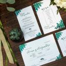 Papelería para boda (invitación boda, seating plan, meseros y minutas). Un proyecto de Diseño, Dirección de arte, Eventos y Diseño gráfico de Mònica Prieto Turró - 16.05.2019