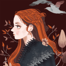 Fanart: Sansa Stark. Un proyecto de Ilustración, Diseño de personajes, Ilustración digital e Ilustración de retrato de Paula Zamudio - 10.06.2019