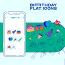 Birthday — Flat icons. Um projeto de Direção de arte, Design gráfico, Diseño de iconos e Ilustração digital de María Marqueses - 26.06.2019