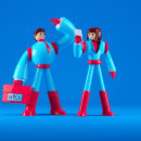 The future of work - Avianca. A Illustration, 3D, Character Design, Editorial Design, and 3D Character Design project by Daniel Dominguez - 07.26.2019