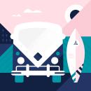 West Cost Roadtrip. Un proyecto de Ilustración, Ilustración vectorial e Ilustración digital de Jokin Lopez - 23.08.2019