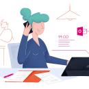 Deutsche Telekom: Un día con Office 365 y iPad Air  // Ilustración para E-Mail Marketing. Un progetto di Illustrazione, Web Design e Illustrazione digitale di Beatriz Arribas de Frutos - 20.09.2019