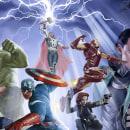 Avengers Poster Fan Art. Um projeto de Design, Artes plásticas, Pintura, Comic, Cinema, Criatividade, Design de cartaz, Ilustração digital, Ilustração de retrato, Concept Art e Desenho de Retrato de Carlos Gollán - 18.09.2019