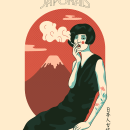"""""""Femme Japonais"""" ©2020 Hugo Giner.. Un proyecto de Diseño, Ilustración, Bellas Artes, Diseño gráfico, Ilustración vectorial, Dibujo, Diseño de carteles e Ilustración digital de Hugo Giner - 30.03.2020"""