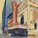 Il Chicago Theater, acquarello su carta, marzo 2020.. Un progetto di Pittura ad acquerello di Gian Luca Ferme - 11.04.2020