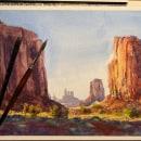 Watercolor: Monument Valley (+ Video) . Un progetto di Illustrazione, Belle arti, Pittura , e Pittura ad acquerello di Gabriel Ramos - 29.04.2020