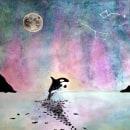 Mi Proyecto del curso: Paisaje con aurora boreal, luna llena y constelaciones. Un proyecto de Pintura a la acuarela de Raquel Soto Llácer - 10.05.2020