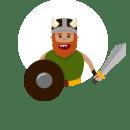 Warrior Character Design /Guerrero, Diseño de Personaje . Um projeto de Design de personagens, Animação de personagens e Ilustração digital de Nathalie Amaro - 21.05.2020