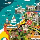 Mapa Ilustrado de Viña del Mar - Tienda Mappin, Chile. Um projeto de Design, Ilustração, Gestão de design, Artes plásticas, Design gráfico, Design de informação, Pintura, Lettering, Ilustração vetorial, Esboçado, Criatividade, Desenho e Ilustração digital de Claudia Silva - 15.10.2019