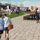 Menjar Square: Food truck hub in Barcelona! A vision.... Um projeto de Design, Arquitetura e Colagem de Vanessa Vidal - 01.11.2019