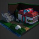 Low Poly Pokecenter Diorama. Un proyecto de 3D y Diseño de videojuegos de Gustavo Olaio - 01.03.2020