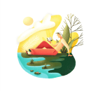 Ilustración 'Hombre relajado en el parque'. A Illustration, Design von Figuren, Kreativität, Zeichnung und Digitale Zeichnung project by Paula Checa - 18.07.2020