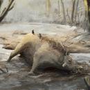 Daeodon playing in the mud. Un proyecto de Ilustración, Bellas Artes, Ilustración digital, Concept Art, Dibujo digital y Pintura digital de Miquel Camio Jiménez - 13.09.2020