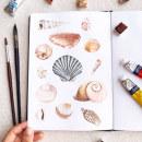 Conchas - estudo em aquarela (2020). Um projeto de Ilustração, Pintura, Pintura em aquarela e Ilustração com tinta de Franncine de Miranda (Estúdio Luares) - 16.09.2020