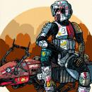 Piloto Moto Jet Forajido Desertor. Un proyecto de Ilustración de Marcos Cabrera - 14.10.2020