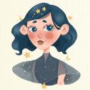 DTIYS - Menina Estrela. Un proyecto de Diseño, Diseño de personajes, Dibujo, Dibujo artístico, Brush painting y Dibujo digital de Isaura da Silva - 27.10.2020