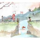 Mi Proyecto del curso: Ilustración en acuarela con influencia japonesa. Um projeto de Ilustração e Ilustração infantil de Estela Corral Vázquez - 29.10.2020