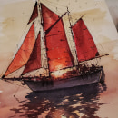 Sailing Away. A Illustration, Fine Art, Sketching, Watercolor Painting, and Sketchbook project by Reha Sakar - 11.03.2020