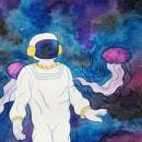 Mi Proyecto: Astronauta. Un projet de Illustration , et Aquarelle de Ingrid Zúñiga - 04.11.2020