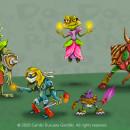 Los 5 Monstruos Guerreros mágicos del Bosque . Un proyecto de Ilustración, Dirección de arte, Diseño de personajes, Ilustración digital y Concept Art de Camilo Ducuara Gordillo - 13.11.2020