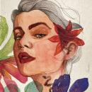 Mulher com cobra e flores (2020). Un proyecto de Ilustración, Ilustración digital e Ilustración editorial de Ana França - 15.11.2020