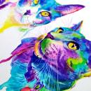 Colorido retratos de Gatos. Um projeto de Ilustração de Yubis Guzmán - 20.12.2020