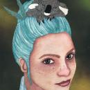 Bubblegum Blue - Retrato ilustrado en acuarela. Un proyecto de Ilustración digital, Pintura a la acuarela, Ilustración de retrato e Ilustración con tinta de Sara Azurdia - 04.01.2021