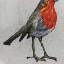 Mi Proyecto del curso: Pintar con hilo: técnicas de ilustración textil Petirojo enamorado. Un proyecto de Bordado de Liliana Quintero Arango - 24.01.2021
