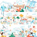 Paradores de Turismo de España - Calendario 2021. Un proyecto de Diseño, Ilustración, Publicidad, Diseño de producto, Ilustración vectorial, Bocetado, Dibujo a lápiz, Dibujo e Ilustración digital de Carlos Arrojo - 31.01.2021