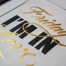 Friday I'm in love - Linocut + Watercolor Calligraphy. Um projeto de Caligrafia, Lettering, Estampagem, Caligrafia com brush pen, H e lettering de Javier Piñol - 17.02.2021