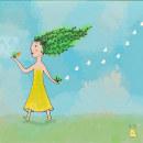 Niña arbol. Un proyecto de Ilustración digital e Ilustración infantil de Ma Jime Vera Berón - 02.04.2021