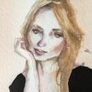 Retrato. Mujer joven.. Um projeto de Ilustração de retrato e Pintura em aquarela de Nikos Chalavazis - 12.04.2021