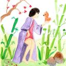 Mi Proyecto del curso: Ilustración en acuarela con influencia japonesa. Un proyecto de Ilustración, Pintura a la acuarela y Dibujo artístico de Roxana Ayala - 13.04.2021