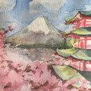 Tranquilidad del monte Fuji. Um projeto de Ilustração naturalista e Pintura em aquarela de Nikos Chalavazis - 17.04.2021
