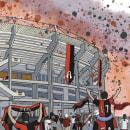 Estadio Jalisco. Um projeto de Ilustração, Arquitetura, Pintura em aquarela, Arquitetura digital e Ilustração Arquitetônica de Pablo Vallejo - 23.04.2021