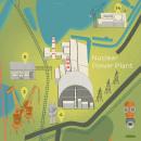 Chernobyl y la zona de exclusión. Mapa informativo. Um projeto de Ilustração, Infografia, Ilustração digital e Ilustração Arquitetônica de Dani Maiz - 03.05.2021