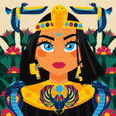 Egyptian Goddess - Proyecto de curso. A Illustration, Pattern Design, and Digital illustration project by Kropsiland - 05.04.2021