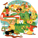 GOBIERNO DE ARAGÓN. Ilustración central de la campaña y motion graphics. . Un proyecto de Ilustración, Publicidad y Motion Graphics de Juanma García Escobar - 30.03.2021