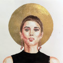 Mi Proyecto del curso: RETRATO EN ACUARELA utilizando tinta china y hojas de oro, plata y cobre.. Un proyecto de Ilustración, Pintura a la acuarela, Ilustración de retrato y Dibujo de Retrato de Gabriel Mota - 11.05.2021