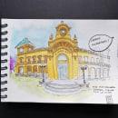 Urban Sketching de vallejothomsen. Um projeto de Ilustração, Esboçado, Desenho, Pintura em aquarela, Ilustração Arquitetônica e Sketchbook de Pablo Vallejo - 07.06.2021