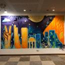 Mural Cowork Bogotá. Um projeto de Ilustração, Arte urbana e Ilustração digital de Carlos Mauricio - 24.06.2021