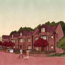 Ilustraciones de complejo de casas en Inglaterra. Un proyecto de Ilustración, Arquitectura y Visualización arquitectónica de Andrea Pineda - 27.06.2021