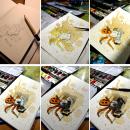 Petites aquarelles carte postale et pas à pas. Un proyecto de Ilustración naturalista de Elsa Bugot - 27.07.2021