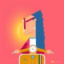 Enjoy The Ride - Ilustracion Vectorial Formato Instagram e Historia. Um projeto de Ilustração, Instalações, Ilustração vetorial, Desenho, Ilustração digital e Desenho digital de Ezequiel Calone - 28.07.2021