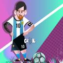 Ilustración Vectorial Geométrica - Homenaje Messi. Um projeto de Ilustração, Desenho, Ilustração digital, Ilustração de retrato e Desenho de Retrato de Ezequiel Calone - 28.07.2021