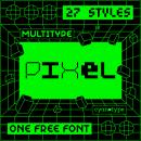 MultiType Pixel (ONE FREE FONT). Un proyecto de Tipografía y Diseño tipográfico de Damián Guerrero Cortés - 12.06.2021
