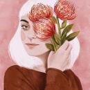 Menina com Buquê. A Illustration, and Digital illustration project by Débora Islas - 08.03.2021