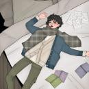 Laying on bed . Un proyecto de Ilustración, Diseño de personajes, Diseño gráfico, Cómic, Dibujo, Dibujo artístico, Diseño digital y Dibujo digital de Lessly Salazar - 03.08.2021