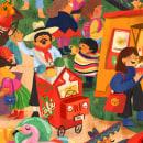 Feria latina. Un proyecto de Ilustración, Diseño de personajes, Diseño editorial, Bocetado, Dibujo e Ilustración infantil de Natalia Rojas - 18.08.2021