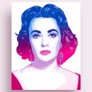 Elizabeth Taylor Portrait. Un progetto di Design, Illustrazione, Illustrazione digitale e Illustrazione di ritratto di Alessandra Stanga - 30.08.2021